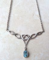 Vintage Sterling Silver Topaz Drop Celtic Style Necklace